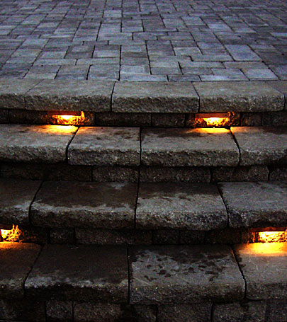 Stairs lit up by step-by-step lighting