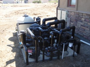 Sample pool equipment installation on pad.