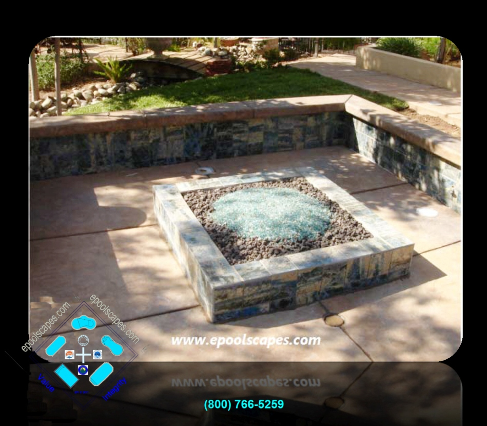 Pool Side Fire Pit w-+18in Seating Wall